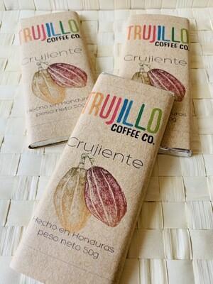 Trujillo coffee Co. Barra de chocolate Gourmet crujiente con cacao nibs