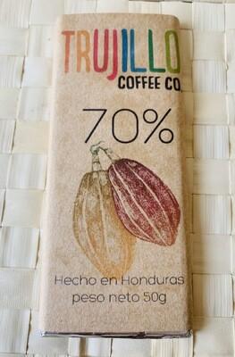 Trujillo coffee Co. Barra de chocolate Gourmet al 70% con cacao nibs