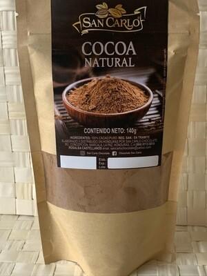 San Carlos cocoa 100% natural  contiene 140 g