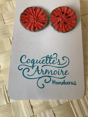 Coquette's Armoire aretes sandías completas luna tejidos a mano en fibra de junco
