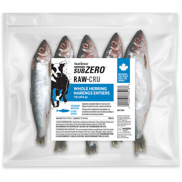 NUTRIENCE SUBZERO RAW BONES - WHOLE HERRING 1LB