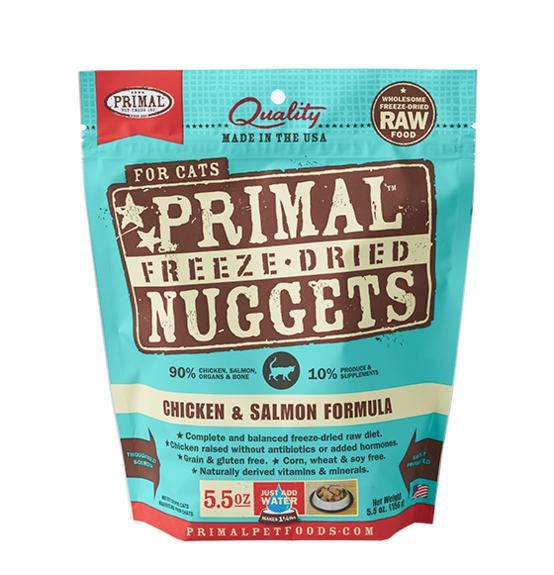 PRIMAL FOR CATS FREEZE-DRIED NUGGETS - CHICKEN & SALMON 5.5OZ