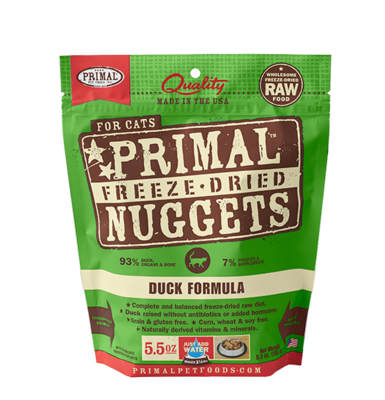 PRIMAL FOR CATS FREEZE-DRIED NUGGETS - DUCK 5.5OZ