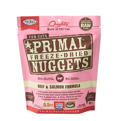 PRIMAL FOR CATS FREEZE-DRIED NUGGETS - BEEF & SALMON 5.5OZ