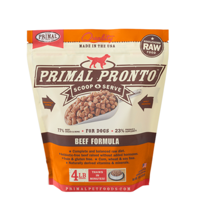 PRIMAL PRONTO RAW FOOD - BEEF 4LB