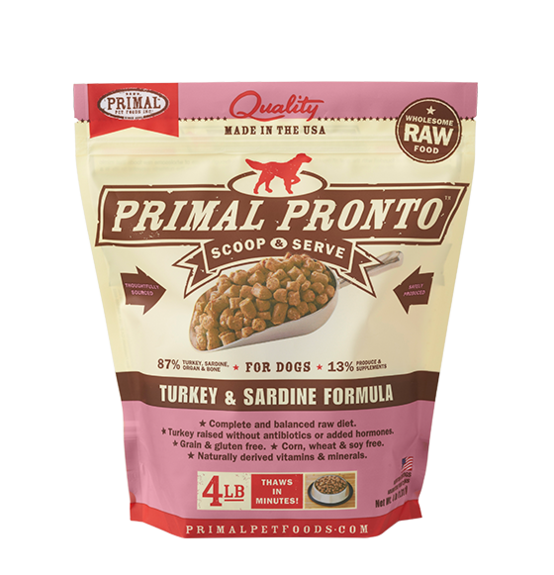 PRIMAL PRONTO RAW FOOD - TURKEY & SARDINE 4LB