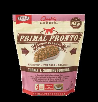 PRIMAL PRONTO RAW FOOD - TURKEY & SARDINE 4LB