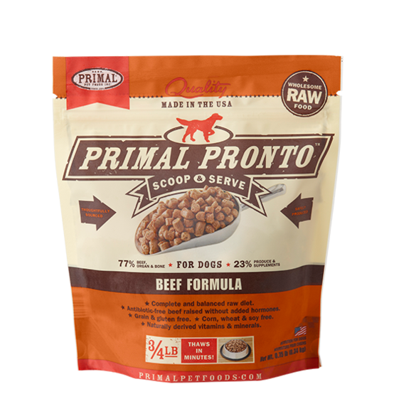 PRIMAL PRONTO RAW FOOD - BEEF 0.75LB