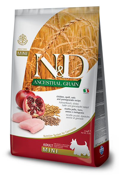 N&D ANCESTRAL GRAIN - CHICKEN & POMEGRANATE ADULT MINI 5.5LB