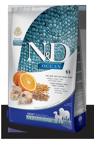 N&D OCEAN - COD, SPELT, OATS & ORANGE ADULT MAXI 5.5LB
