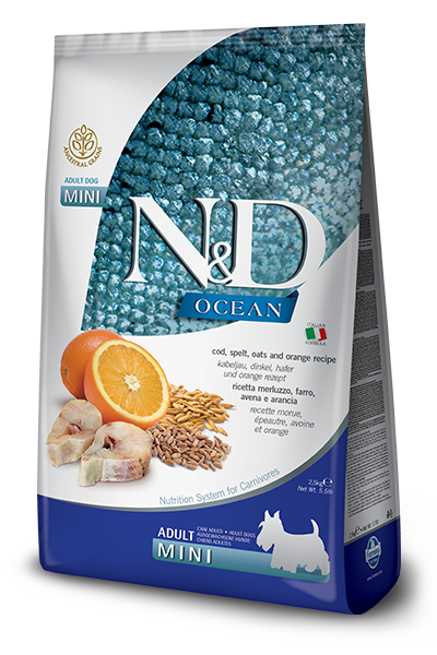 N&D OCEAN - COD, SPELT, OATS & ORANGE ADULT MINI 5.5LB