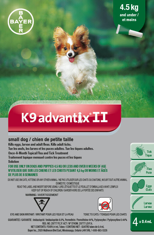 K9 ADVANTIX II FOR DOGS 4.5KG & UNDER