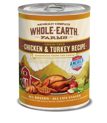 WHOLE EARTH FARMS - GRAIN FREE CHICKEN & TURKEY 12.7OZ