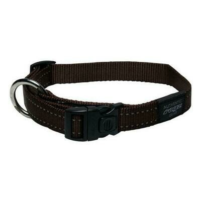 ROGZ CLASSIC COLLAR MEDIUM CHOCOLATE REFLECTIVE