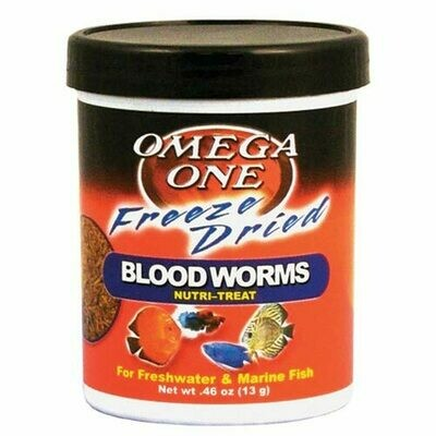 OMEGA ONE FREEZE DRIED BLOOD WORMS .46OZ