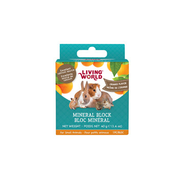 LIVING WORLD SMALL ANIMAL MINERAL BLOCK - ORANGE FLAVOUR 40g