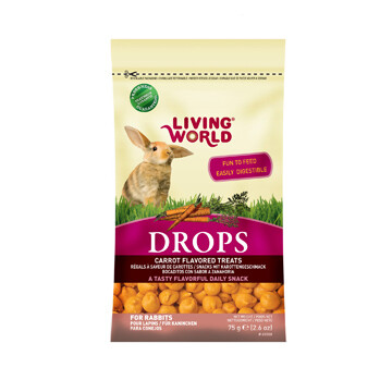 LIVING WORLD RABBIT DROPS - CARROT FLAVOUR 75g