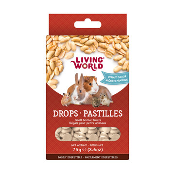 LIVING WORLD SMALL ANIMAL DROPS - PEANUT FLAVOUR 75g