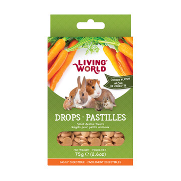 LIVING WORLD SMALL ANIMAL DROPS - CARROT FLAVOUR 75g
