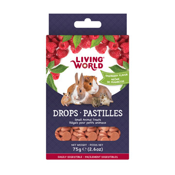 LIVING WORLD SMALL ANIMAL DROPS - RASPBERRY FLAVOUR 75g
