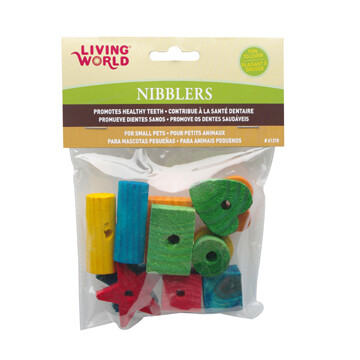 LIVING WORLD NIBBLERS WOOD CHEWS SHAPES MIX