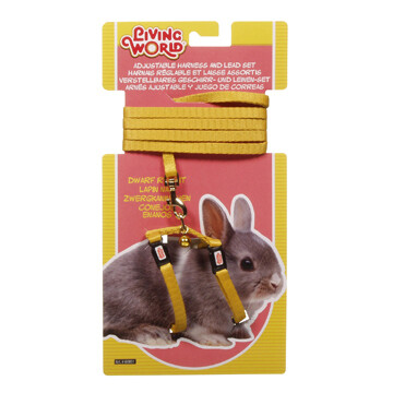 LIVING WORLD HARNESS & LEAD SET FOR DWARF RABBITS - YELLOW