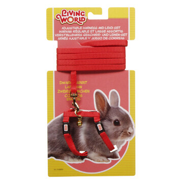 LIVING WORLD HARNESS & LEAD SET FOR DWARF RABBITS - RED