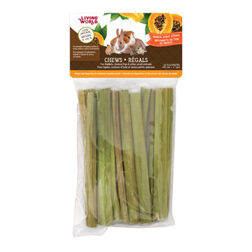 LIVING WORLD SMALL ANIMAL CHEWS - PAPAYA STALK STICKS 10PK