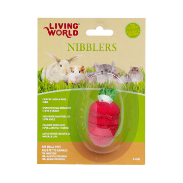 LIVING WORLD NIBBLERS - STRAWBERRY LOOFAH & WOOD CHEW