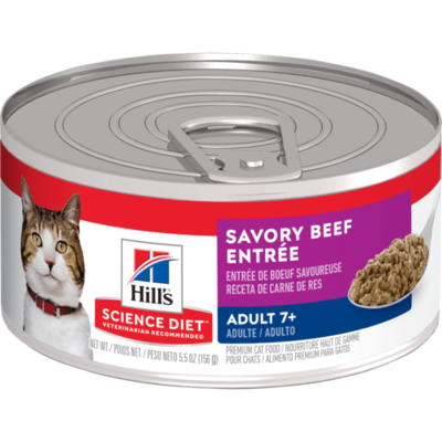 HILL'S SCIENCE DIET CAT ADULT 7+ SAVORY BEEF ENTREE 5.5OZ