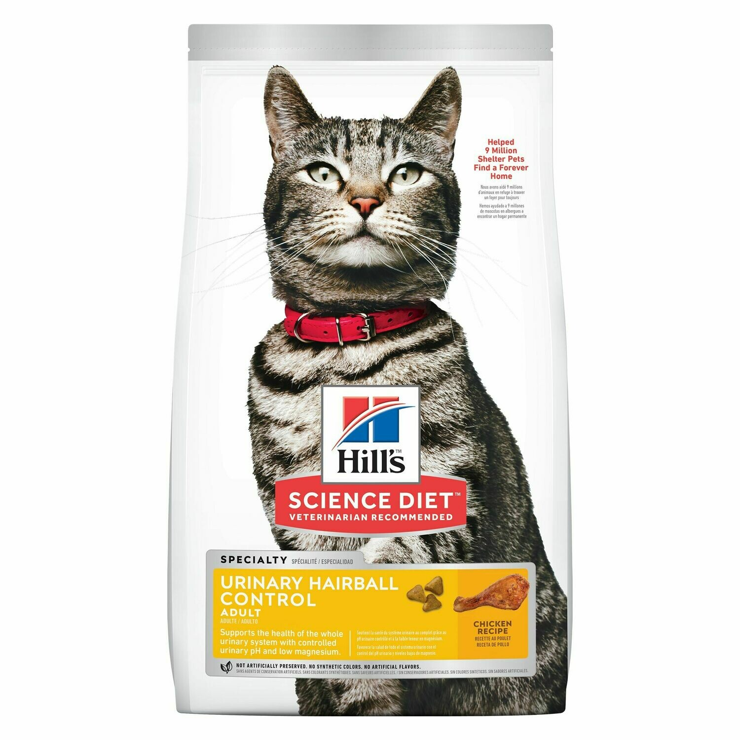 HILL'S SCIENCE DIET CAT - ADULT URINARY HARIBALL CONTROL 15LB