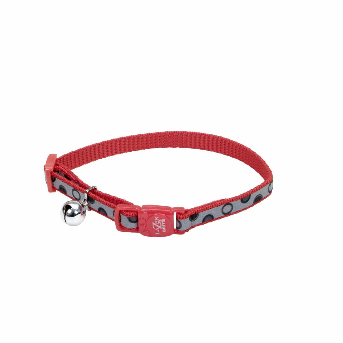 Lazer Brite Cat Collar - Red Bubbles