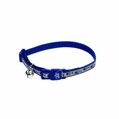 Lazer Brite Cat Collar - Blue Fish Bones