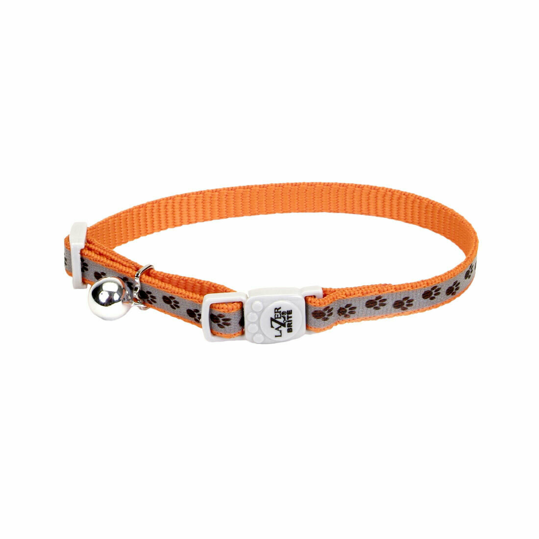 Lazer Brite Cat Collar - Orange Paws