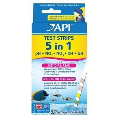 API 5 in 1 AQUARIUM TEST STRIPS - 25PK