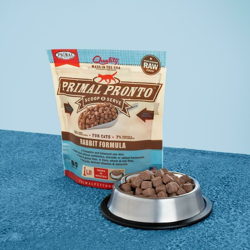 PRIMAL FELINE PRONTO RAW FOOD - RABBIT 1LB
