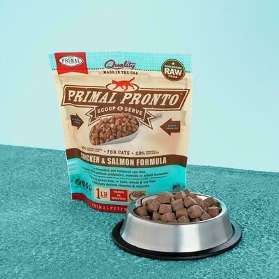 PRIMAL FELINE PRONTO RAW FOOD - CHICKEN & SALMON 1LB