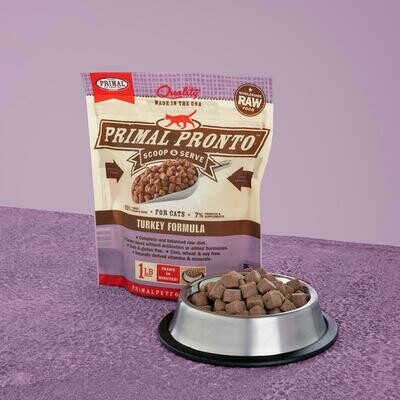 PRIMAL FELINE PRONTO RAW FOOD - TURKEY 1LB