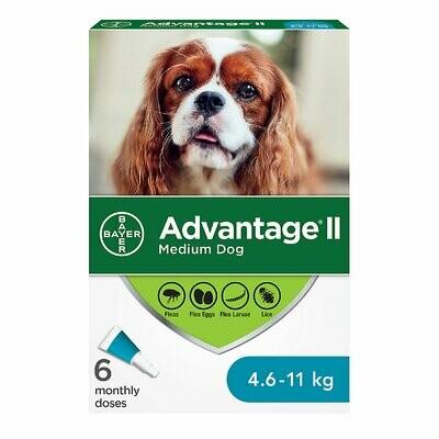 ADVANTAGE II FOR DOGS 4.6KG - 11KG 6 DOSE