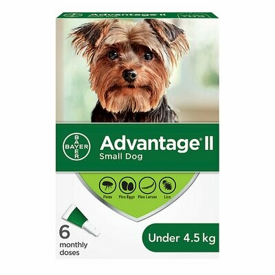 ADVANTAGE II FOR DOGS UNDER 4.5KG 6 DOSE