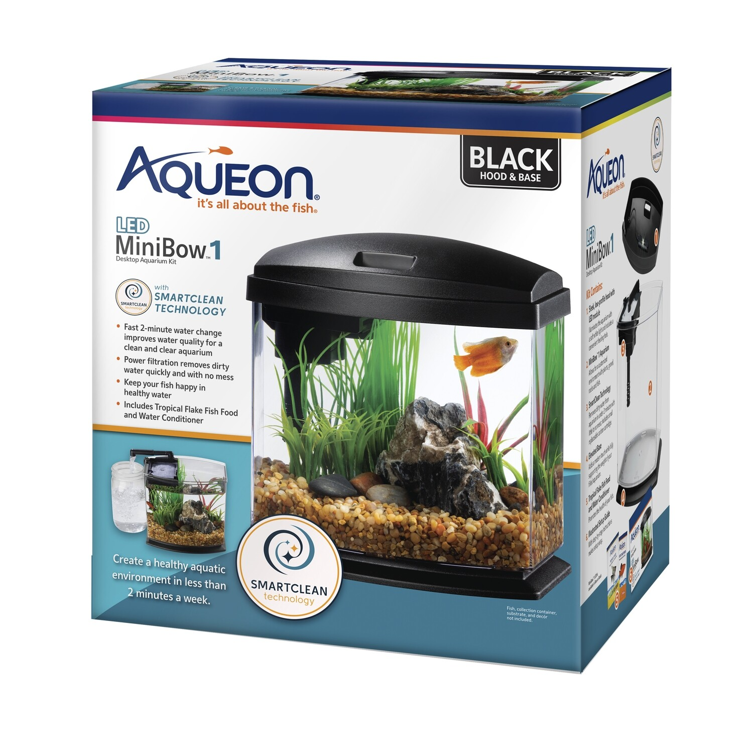 Aqueon LED MiniBow 1 - Black - 1 gal