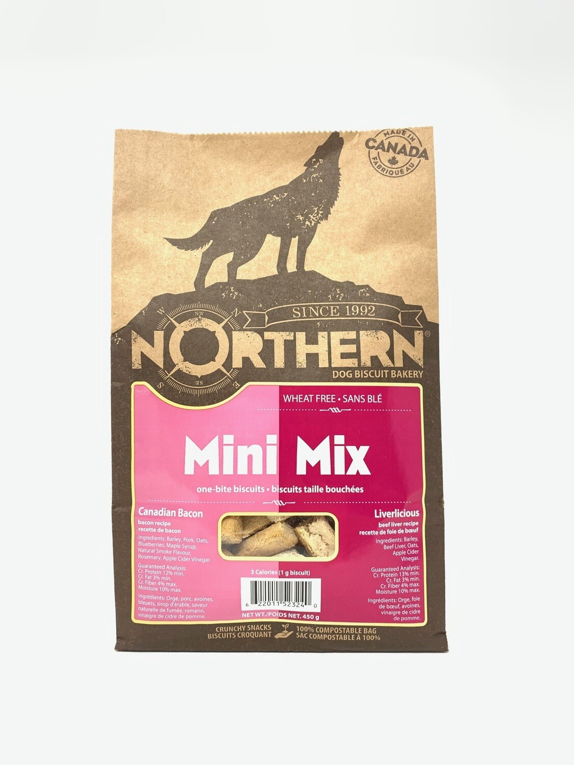 NORTHERN DOG BISCUIT - MINI MIX CANADIAN BACON & LIVERLICIOUS 450g