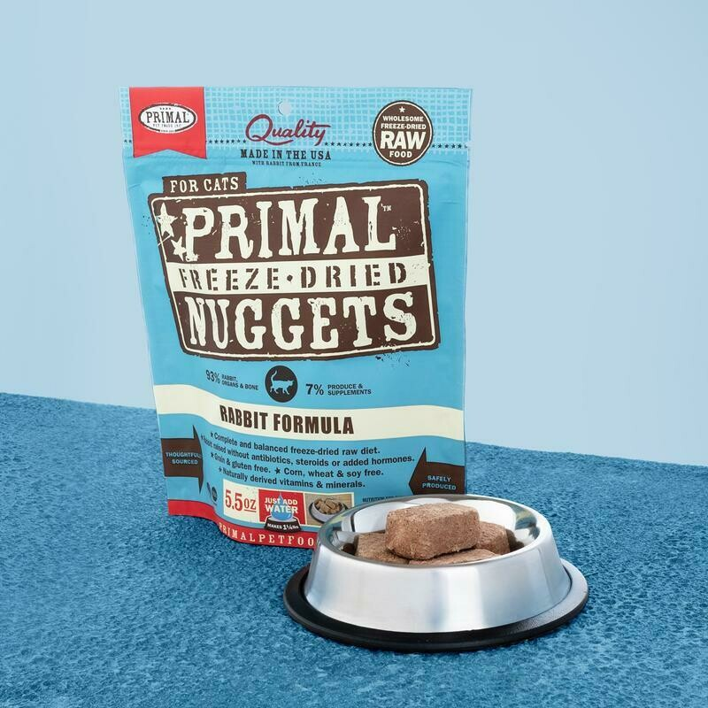 PRIMAL FOR CATS FREEZE-DRIED NUGGETS - RABBIT 5.5OZ