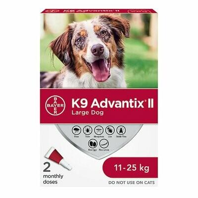 K9 ADVANTIX II FOR DOGS 11KG - 25KG - 2 DOSE