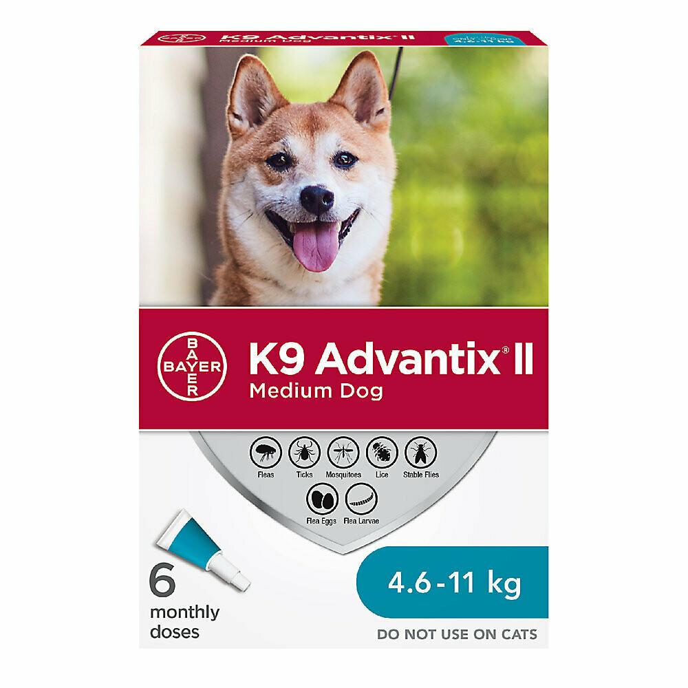 K9 ADVANTIX II FOR DOGS 4.6KG - 11KG - 6 DOSE