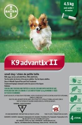 K9 ADVANTIX II FOR DOGS 4.5KG & UNDER - 4 DOSE