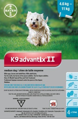 K9 ADVANTIX II FOR DOGS 4.6KG - 11KG - 4 DOSE