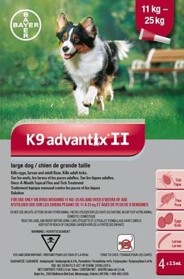 K9 ADVANTIX II FOR DOGS 11KG - 25KG - 4 DOSE