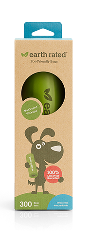EARTH RATED POOP BAGS - 300 BAGS ON LARGE SINGLE ROLL (LAVNEDER)