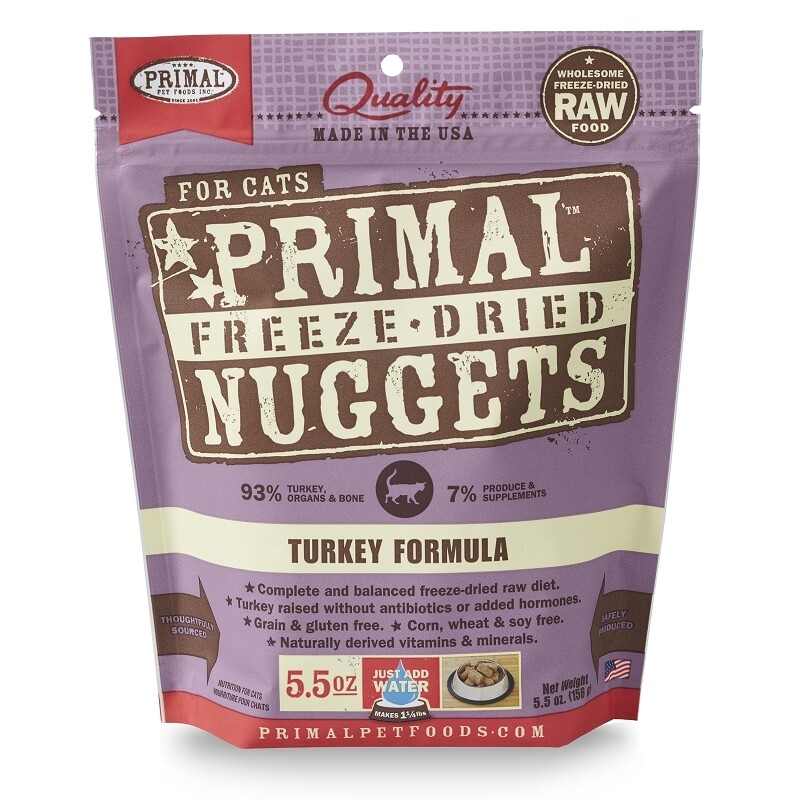 PRIMAL FOR CATS FREEZE-DRIED NUGGETS - TURKEY 5.5OZ
